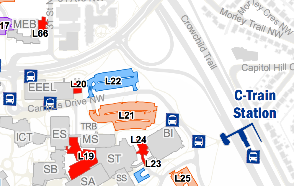 Map showing L22 in relation to Math Sciences building